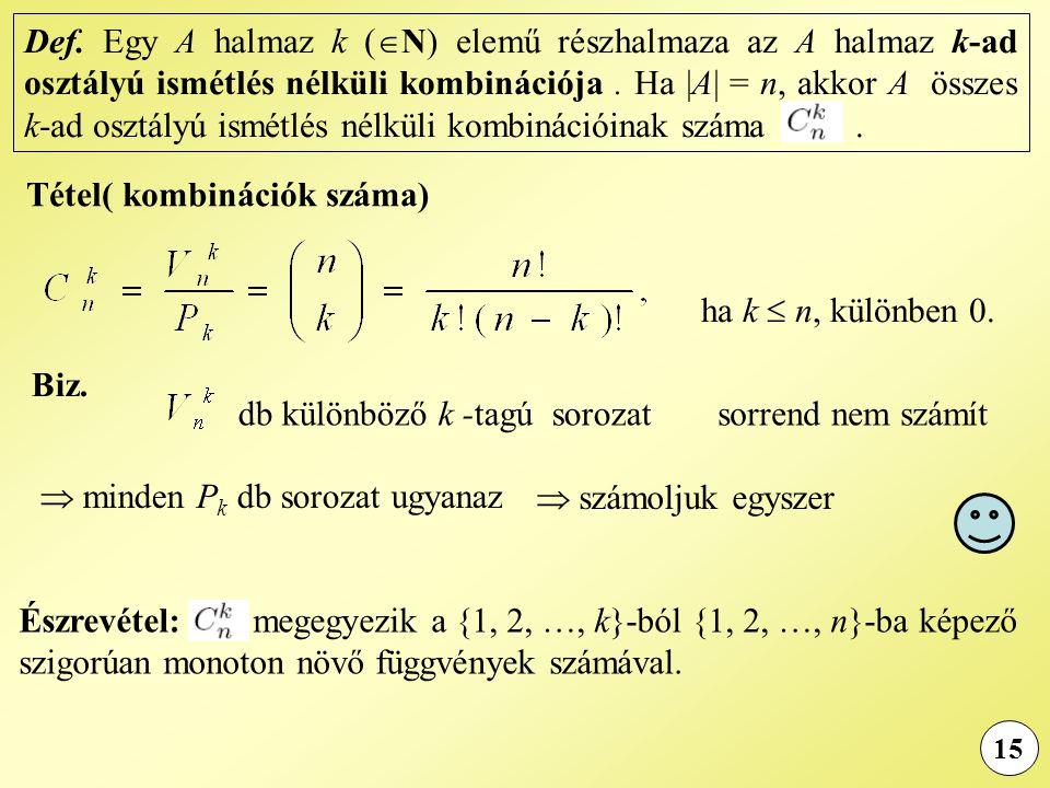 Tétel( kombinációk száma)