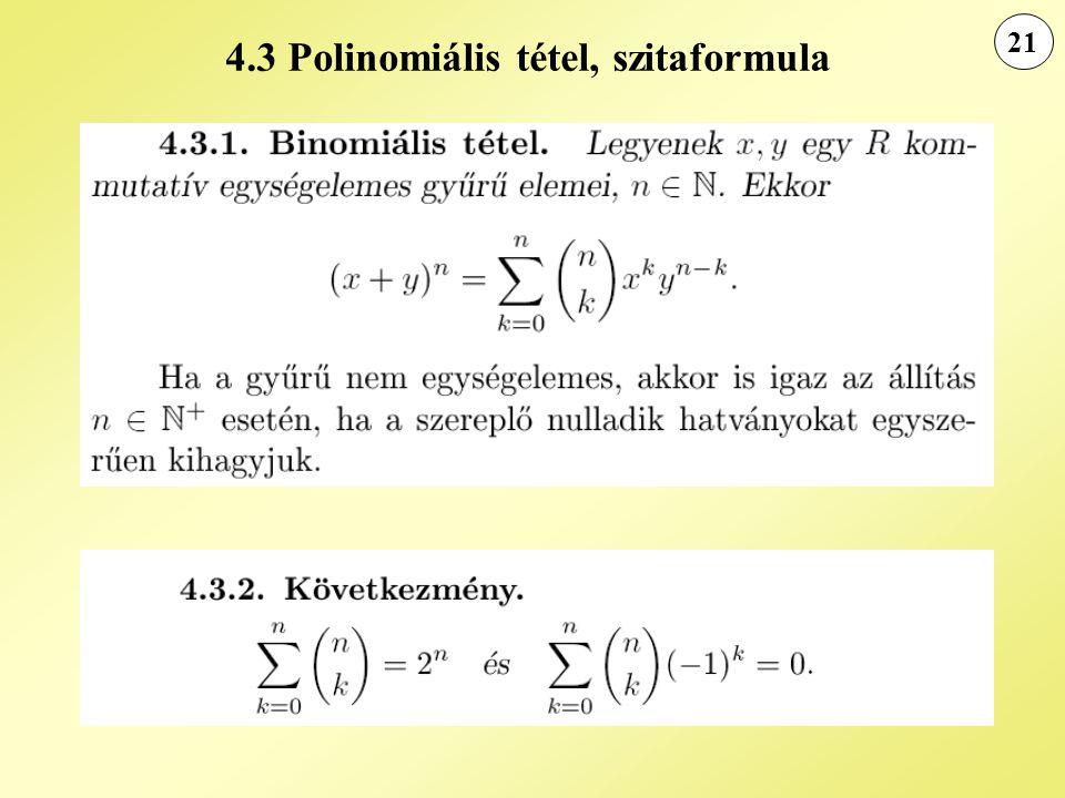4.3 Polinomiális tétel, szitaformula