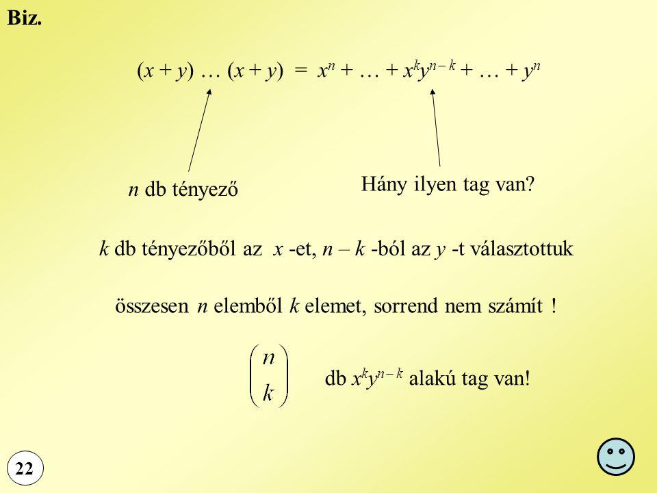 (x + y) … (x + y) = xn + … + xkyn k + … + yn