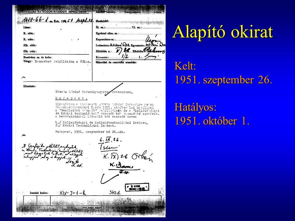 Alapító okirat Kelt: 1951. szeptember 26. Hatályos: 1951. október 1.