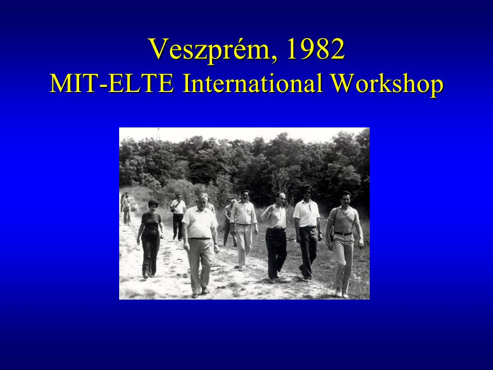 Veszprém, 1982 MIT-ELTE International Workshop