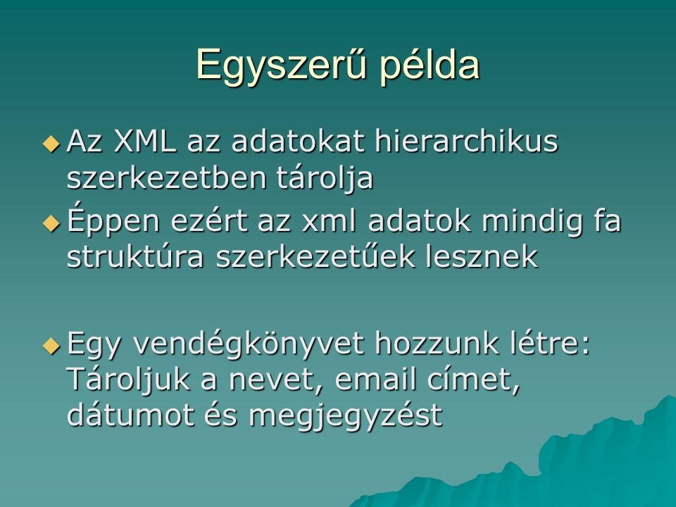Egyszerű példa Az XML az adatokat hierarchikus szerkezetben tárolja