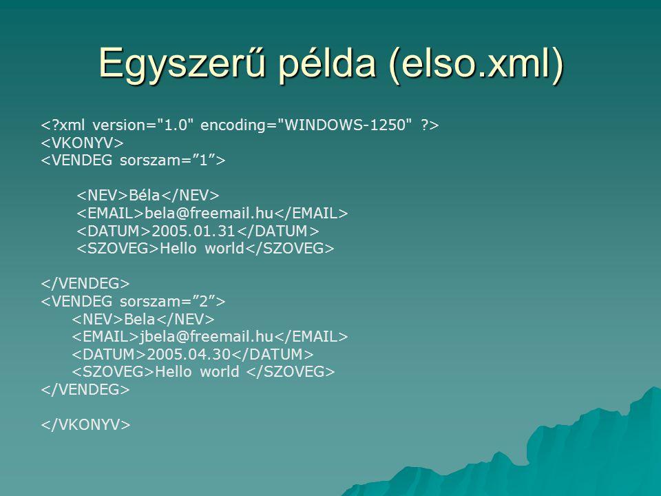 Egyszerű példa (elso.xml)