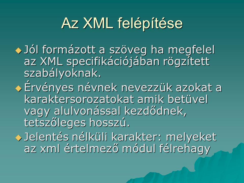 Az XML felépítése Jól formázott a szöveg ha megfelel az XML specifikációjában rögzített szabályoknak.