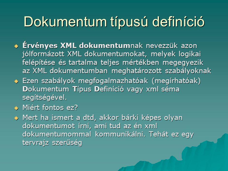 Dokumentum típusú definíció