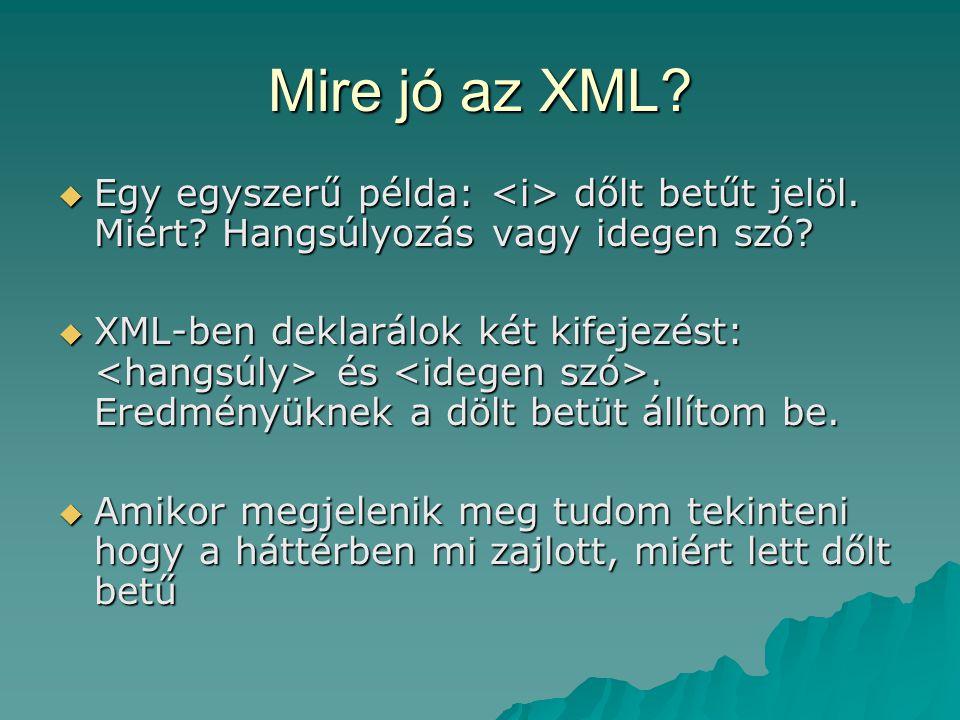 Mire jó az XML Egy egyszerű példa: <i> dőlt betűt jelöl. Miért Hangsúlyozás vagy idegen szó