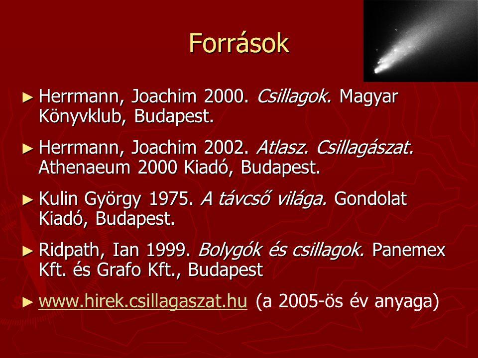 Források Herrmann, Joachim 2000. Csillagok. Magyar Könyvklub, Budapest.