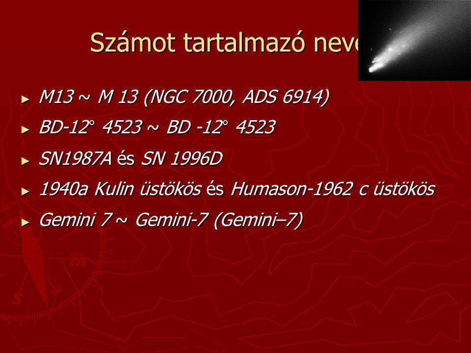 Számot tartalmazó nevek