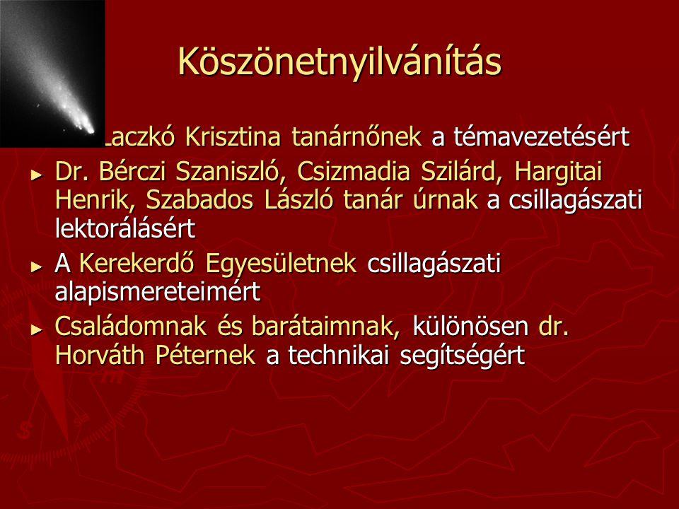 Köszönetnyilvánítás Dr. Laczkó Krisztina tanárnőnek a témavezetésért
