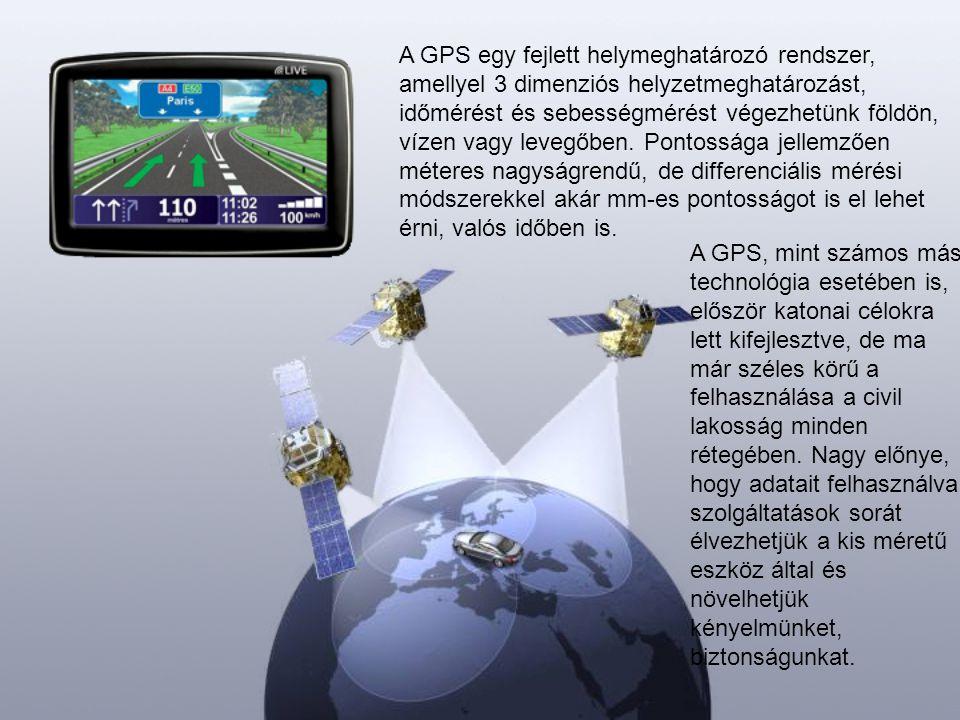 A GPS egy fejlett helymeghatározó rendszer, amellyel 3 dimenziós helyzetmeghatározást, időmérést és sebességmérést végezhetünk földön, vízen vagy levegőben. Pontossága jellemzően méteres nagyságrendű, de differenciális mérési módszerekkel akár mm-es pontosságot is el lehet érni, valós időben is.