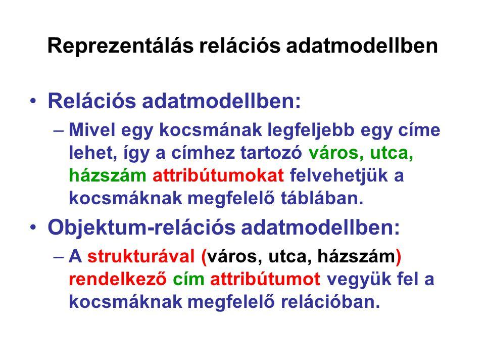 Reprezentálás relációs adatmodellben