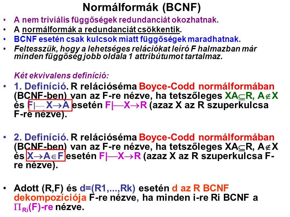 Normálformák (BCNF) A nem triviális függőségek redundanciát okozhatnak. A normálformák a redundanciát csökkentik.