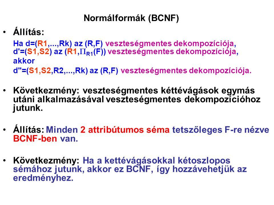 Normálformák (BCNF) Állítás: