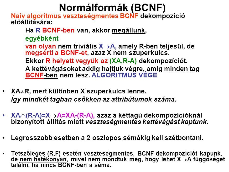 Normálformák (BCNF) Naiv algoritmus veszteségmentes BCNF dekompozíció előállítására: Ha R BCNF-ben van, akkor megállunk,