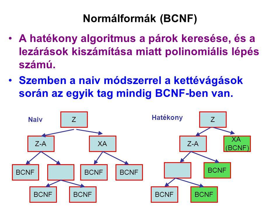 Normálformák (BCNF) A hatékony algoritmus a párok keresése, és a lezárások kiszámítása miatt polinomiális lépés számú.