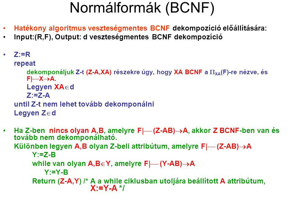 Normálformák (BCNF) Hatékony algoritmus veszteségmentes BCNF dekompozíció előállítására: Input:(R,F), Output: d veszteségmentes BCNF dekompozíció.
