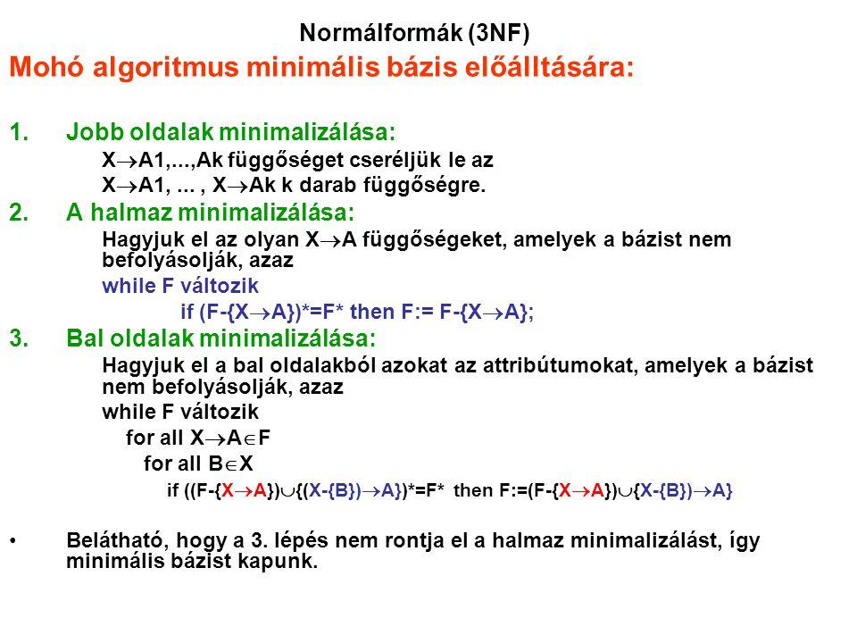 Mohó algoritmus minimális bázis előálltására: