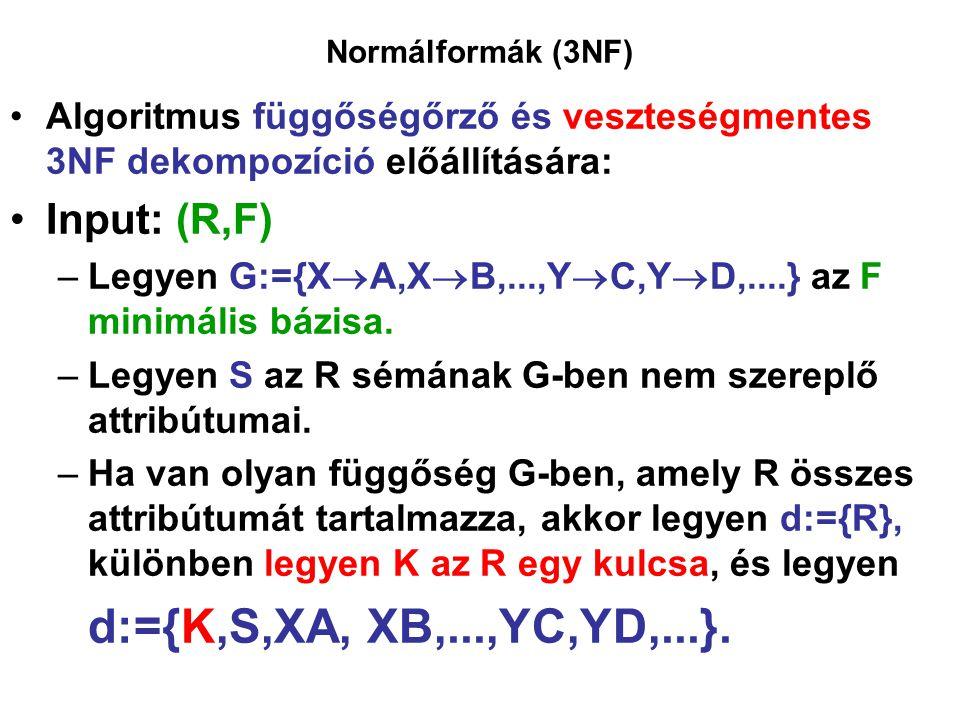 d:={K,S,XA, XB,...,YC,YD,...}. Input: (R,F)