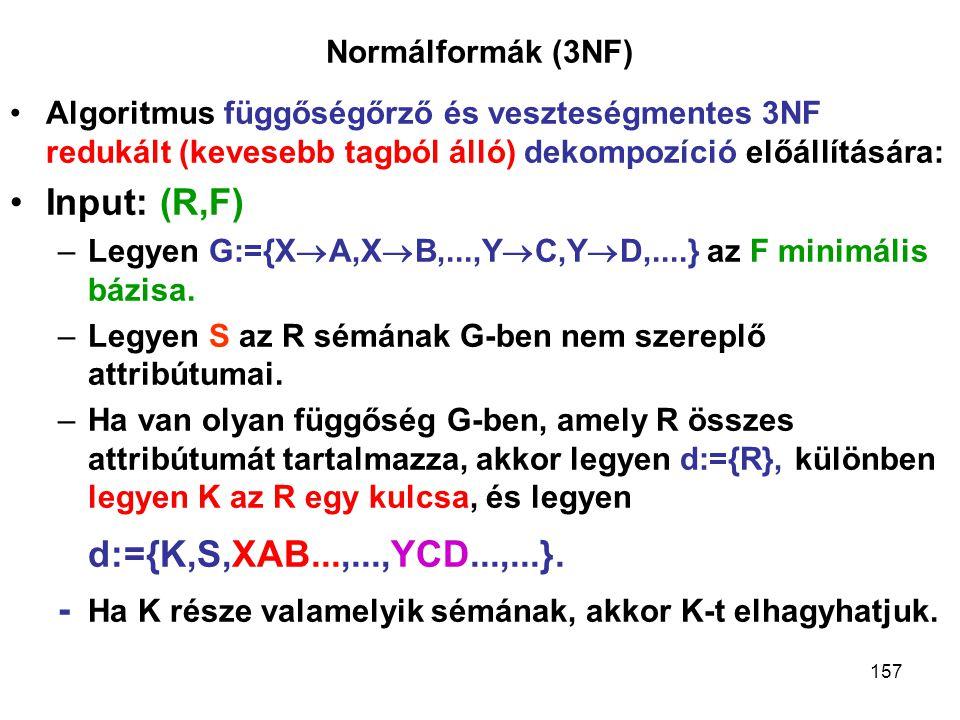 d:={K,S,XAB...,...,YCD...,...}. Input: (R,F)
