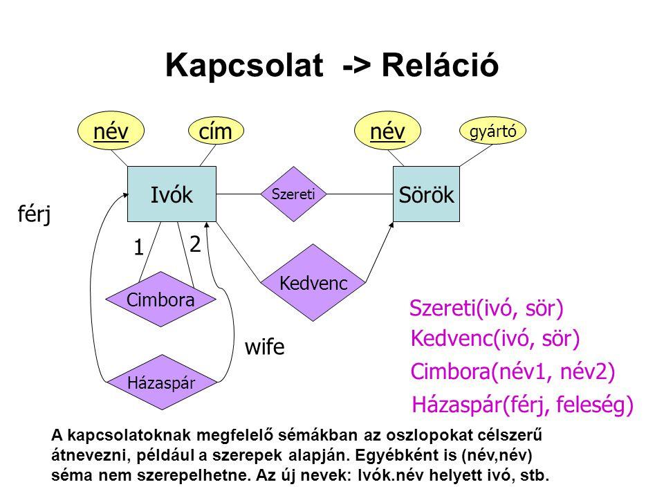 Kapcsolat -> Reláció