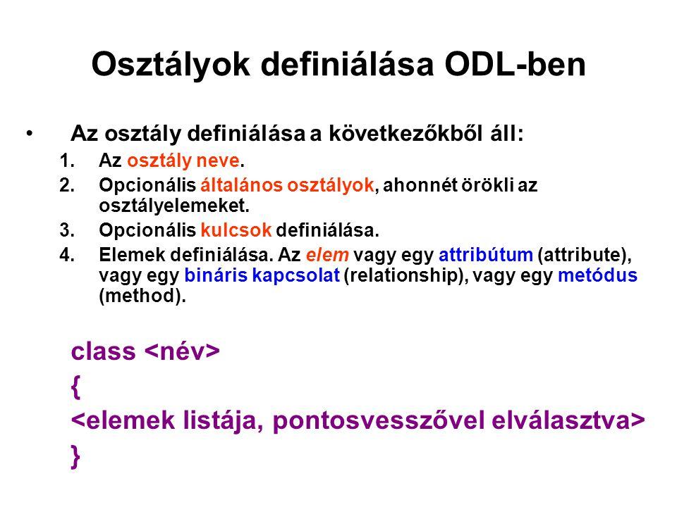 Osztályok definiálása ODL-ben