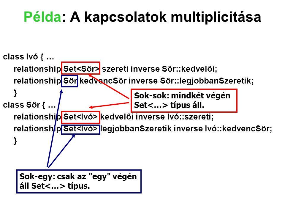 Példa: A kapcsolatok multiplicitása