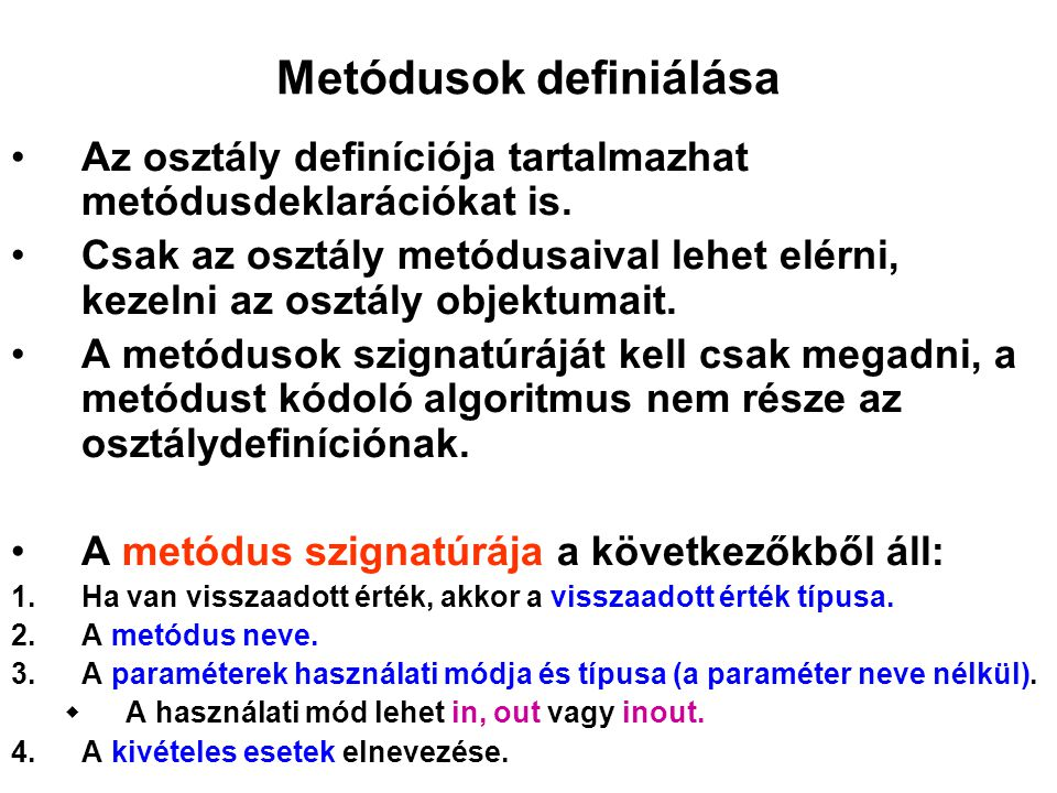 Metódusok definiálása