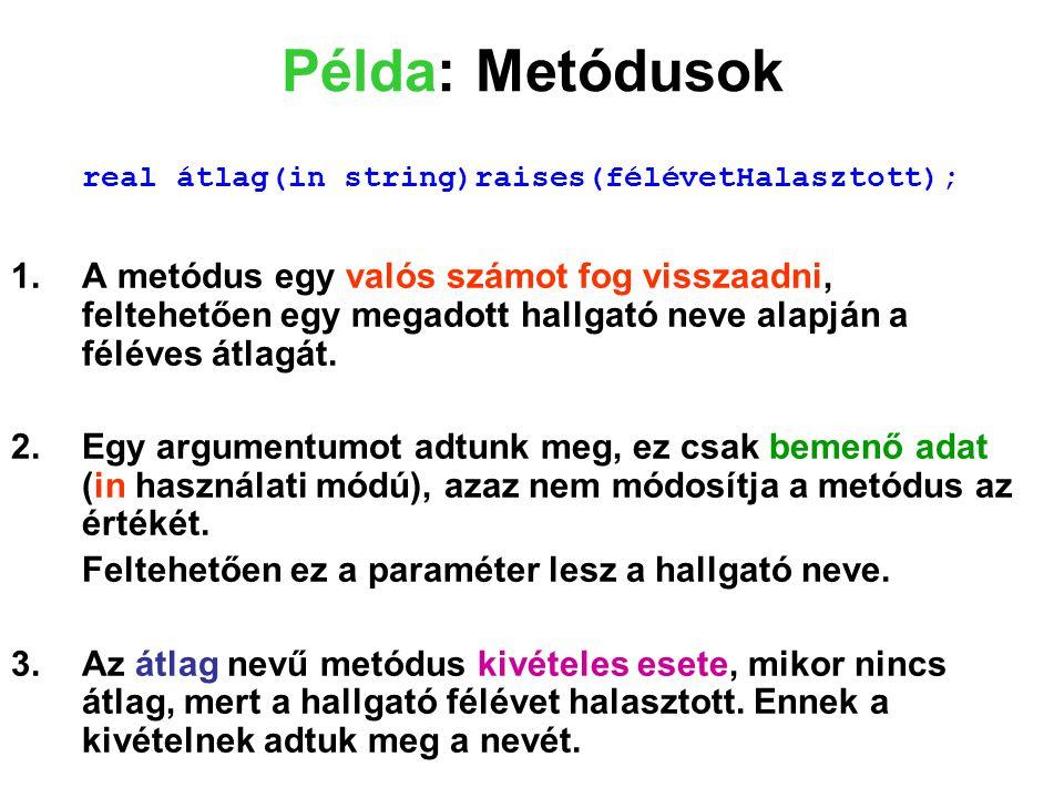 Példa: Metódusok real átlag(in string)raises(félévetHalasztott);