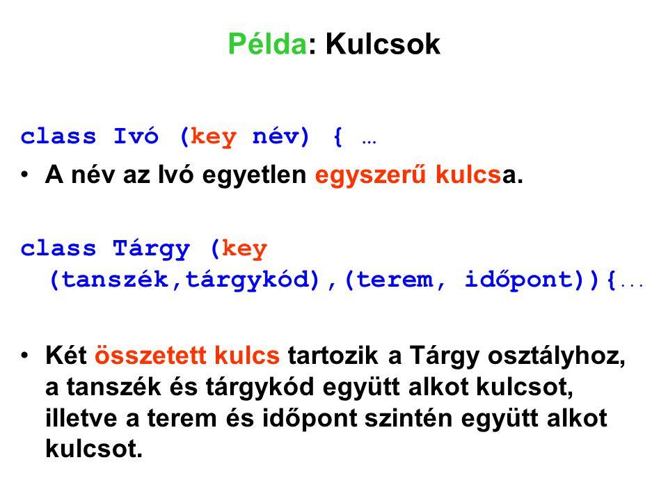 Példa: Kulcsok class Ivó (key név) { …