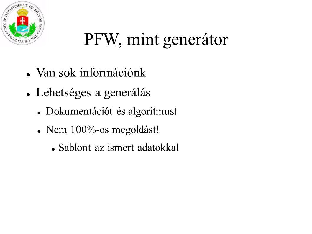 PFW, mint generátor Van sok információnk Lehetséges a generálás