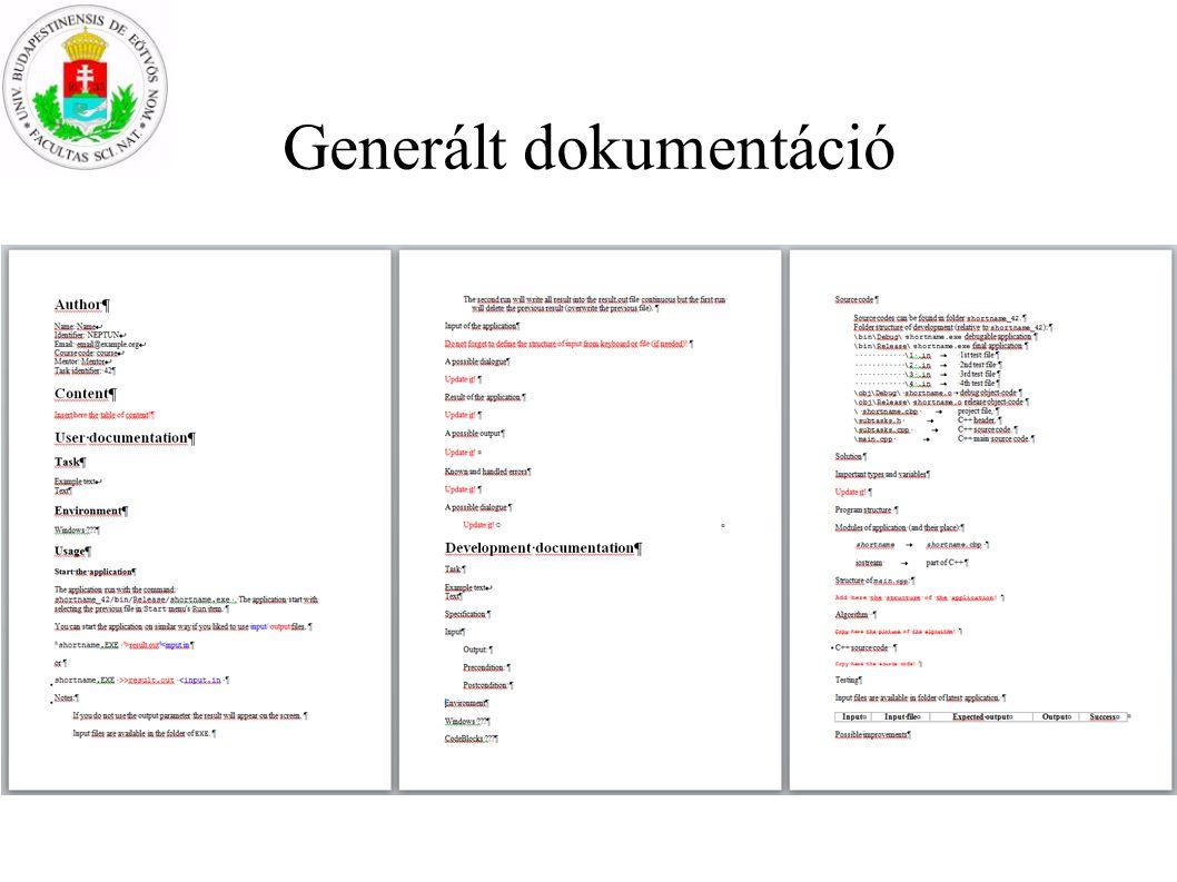 Generált dokumentáció