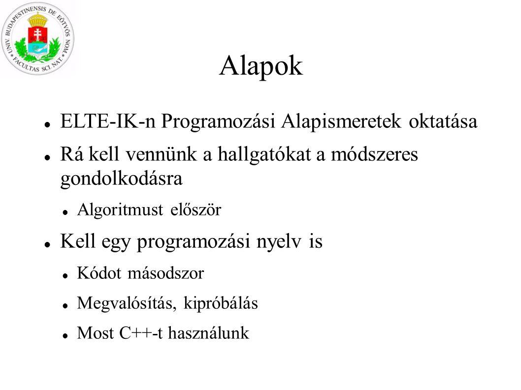 Alapok ELTE-IK-n Programozási Alapismeretek oktatása