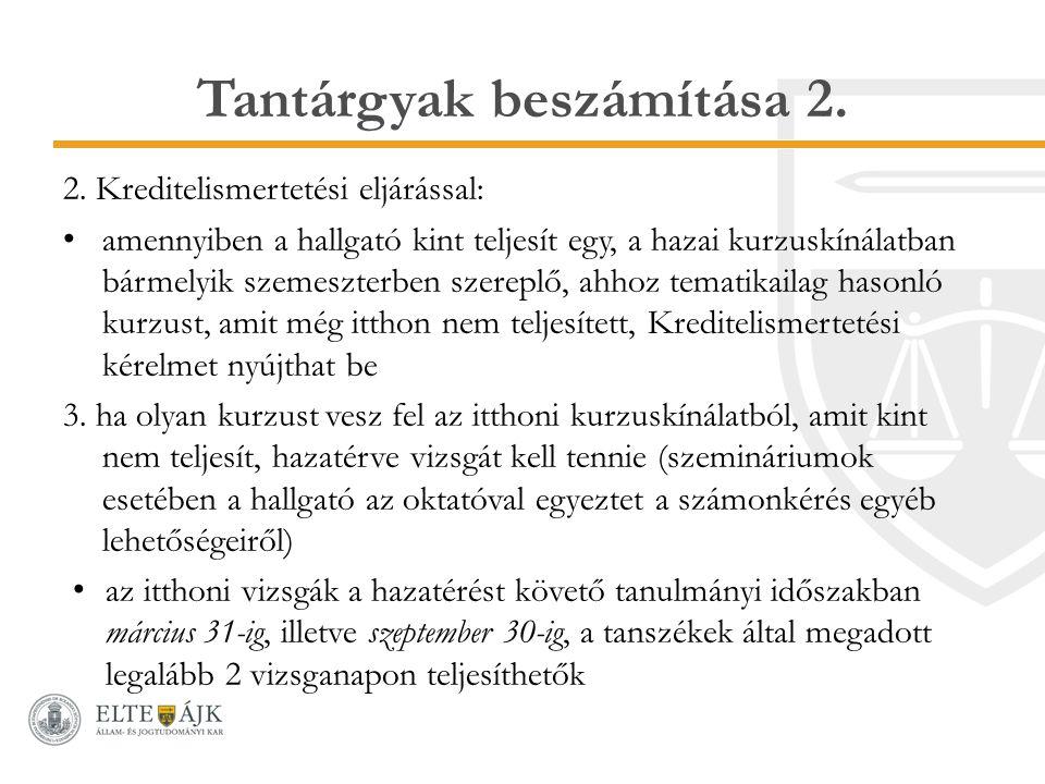 Tantárgyak beszámítása 2.