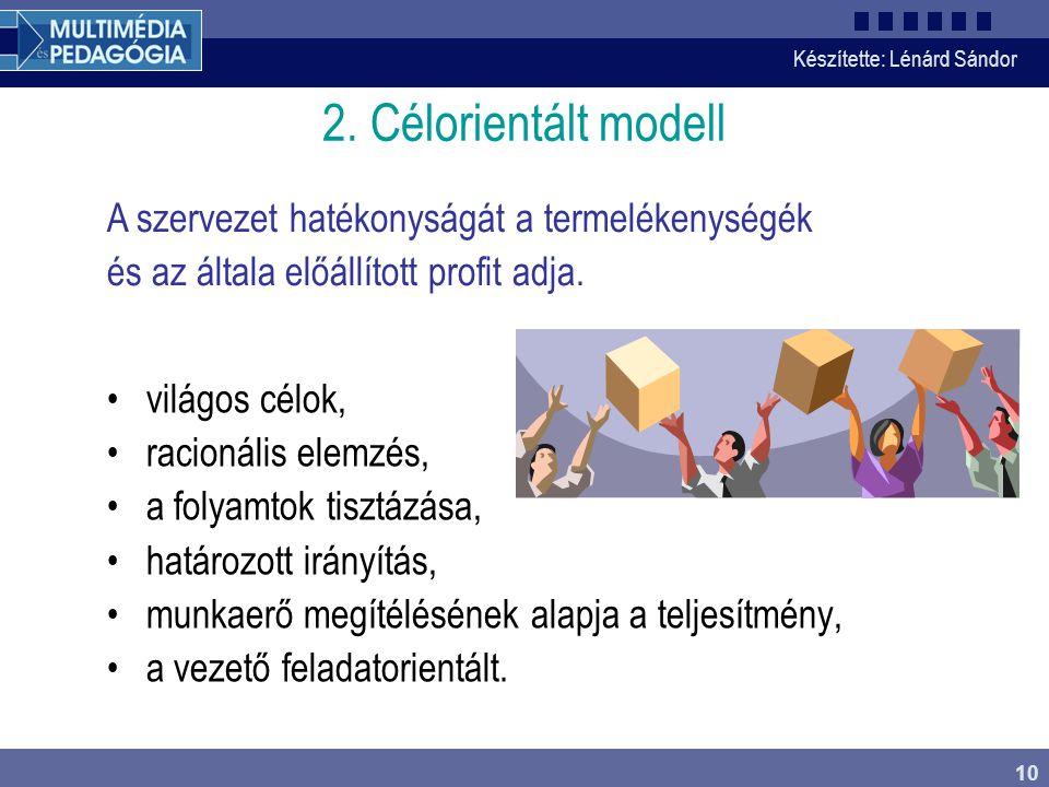 2. Célorientált modell A szervezet hatékonyságát a termelékenységék