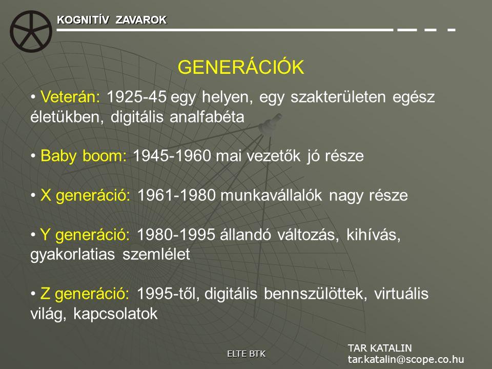 KOGNITÍV ZAVAROK GENERÁCIÓK. Veterán: 1925-45 egy helyen, egy szakterületen egész életükben, digitális analfabéta.