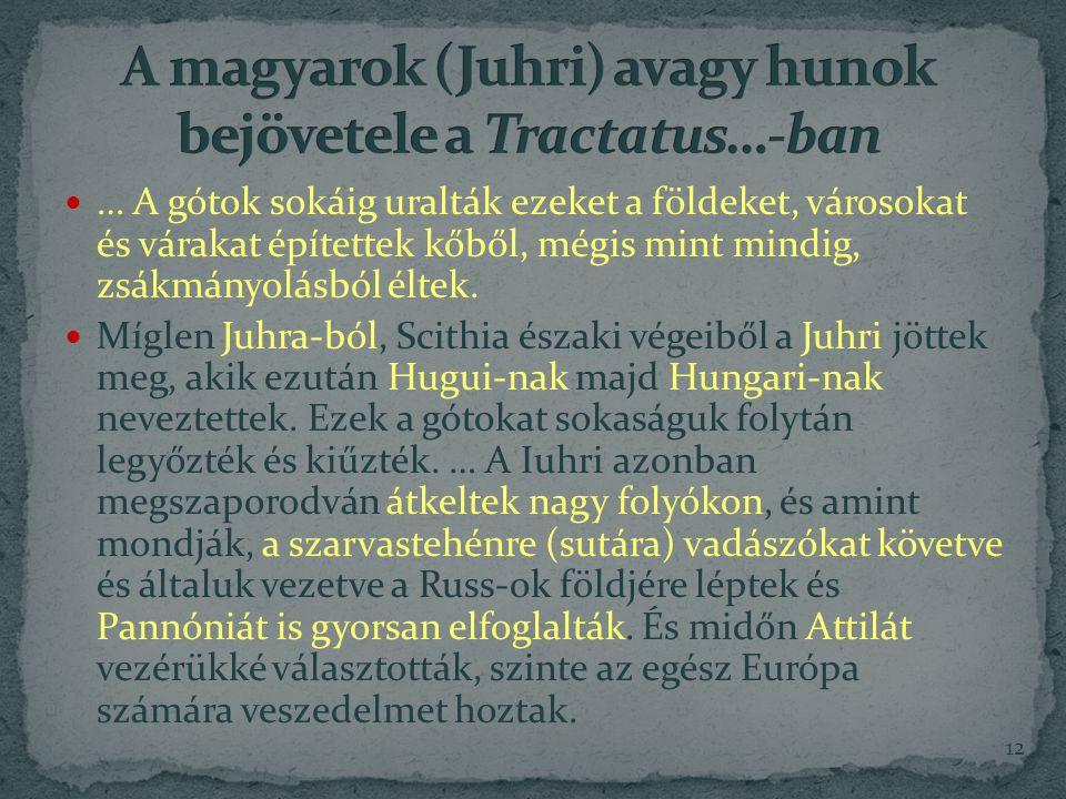 A magyarok (Juhri) avagy hunok bejövetele a Tractatus…-ban