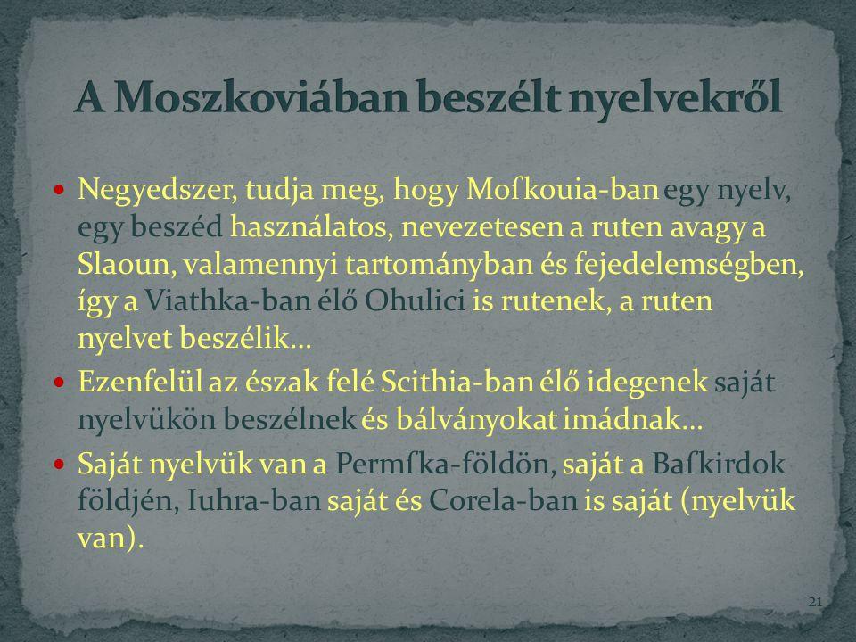 A Moszkoviában beszélt nyelvekről