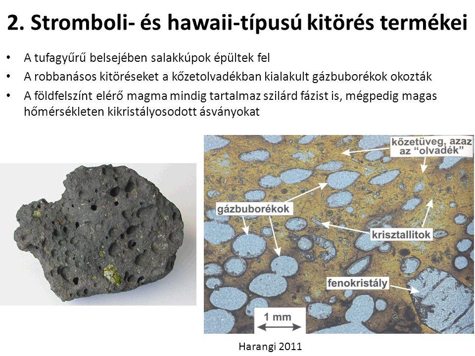 2. Stromboli- és hawaii-típusú kitörés termékei