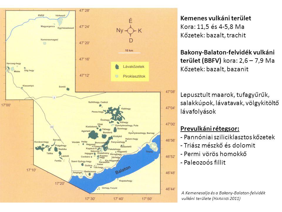 Kemenes vulkáni terület Kora: 11,5 és 4-5,8 Ma