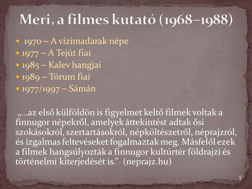 Meri, a filmes kutató (19681988)