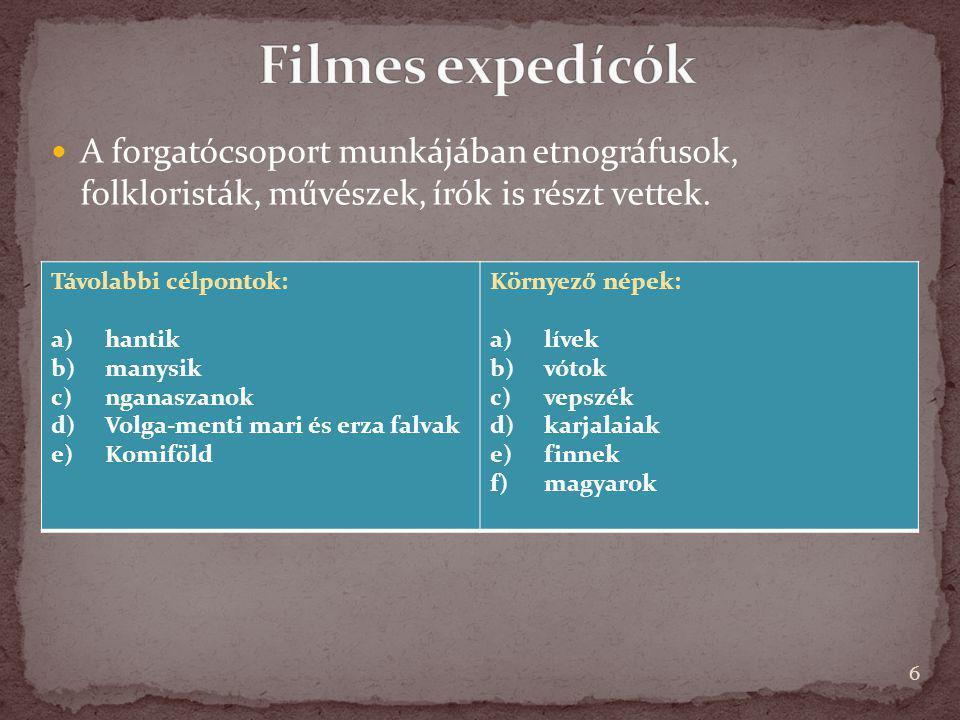 Filmes expedícók A forgatócsoport munkájában etnográfusok, folkloristák, művészek, írók is részt vettek.
