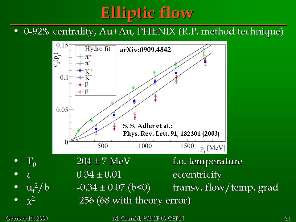 Elliptic flow 0-92% centrality, Au+Au, PHENIX (R.P. method technique)