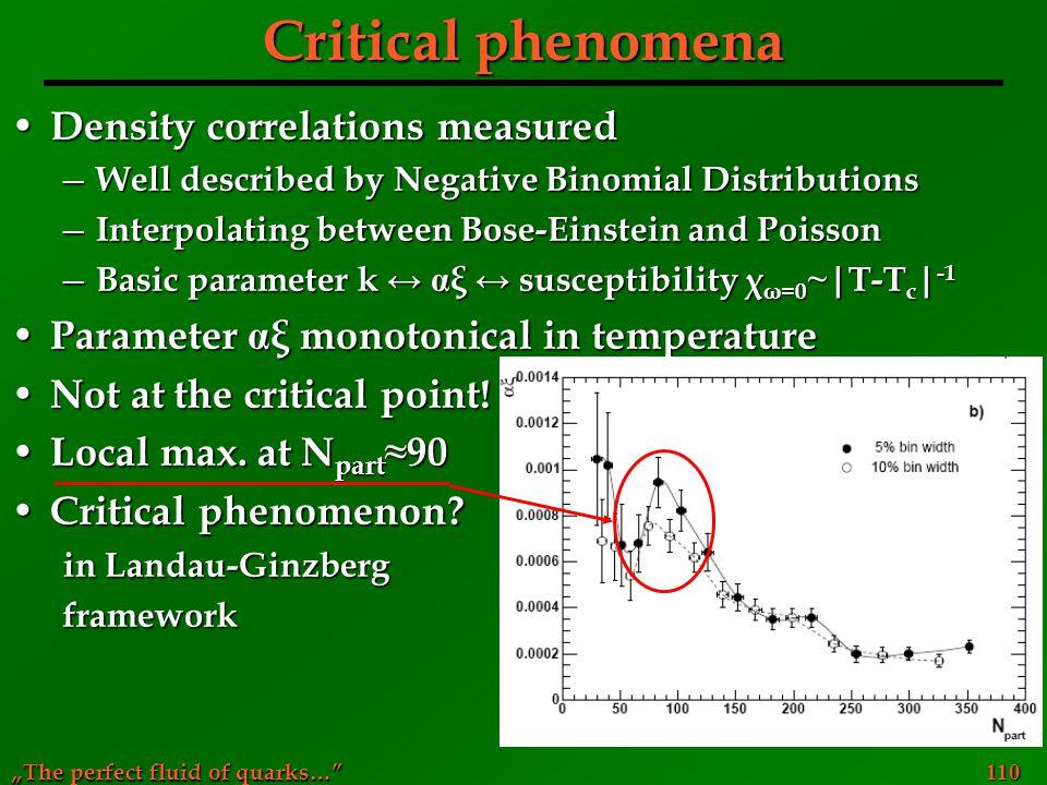 Critical phenomena Density correlations measured