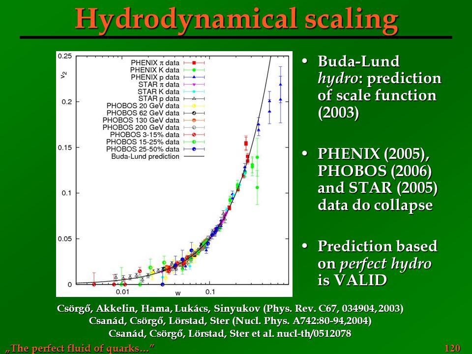 Hydrodynamical scaling
