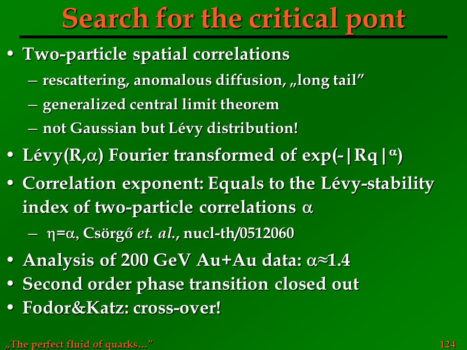Search for the critical pont