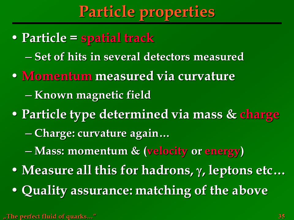Particle properties Particle = spatial track