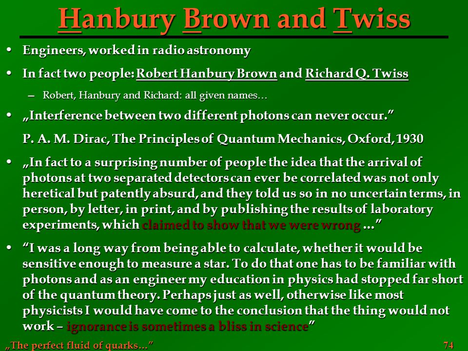 Hanbury Brown and Twiss