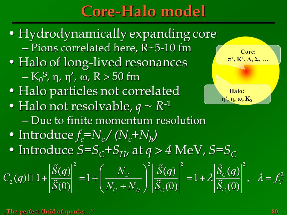 Core-Halo model Hydrodynamically expanding core