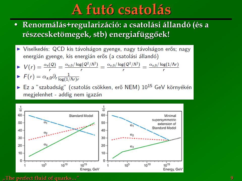 A futó csatolás Renormálás+regularizáció: a csatolási állandó (és a részecsketömegek, stb) energiafüggőek!