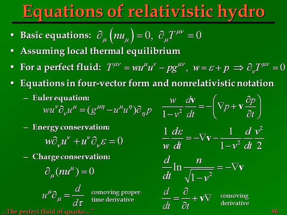 Equations of relativistic hydro